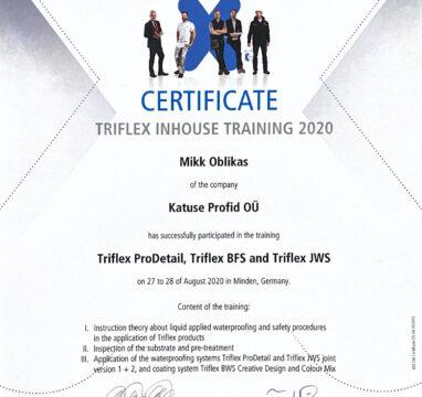Triflex sertifikaat.
