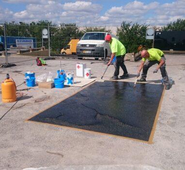 Triflex vedelplastiga parkla asfaltkatte tihendamine. Tehasekoolitus